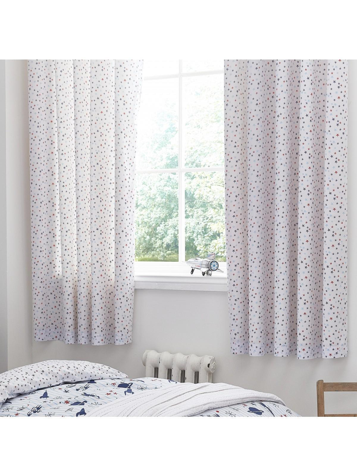 Little Bianca Star Cotton Print Eyelet Curtains Blue