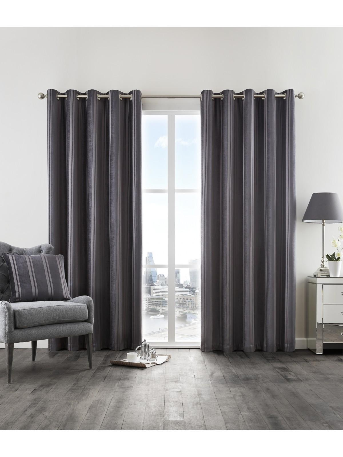 Hotel Luxe Velvet Stripe Thermal Eyelet Curtains Charcoal