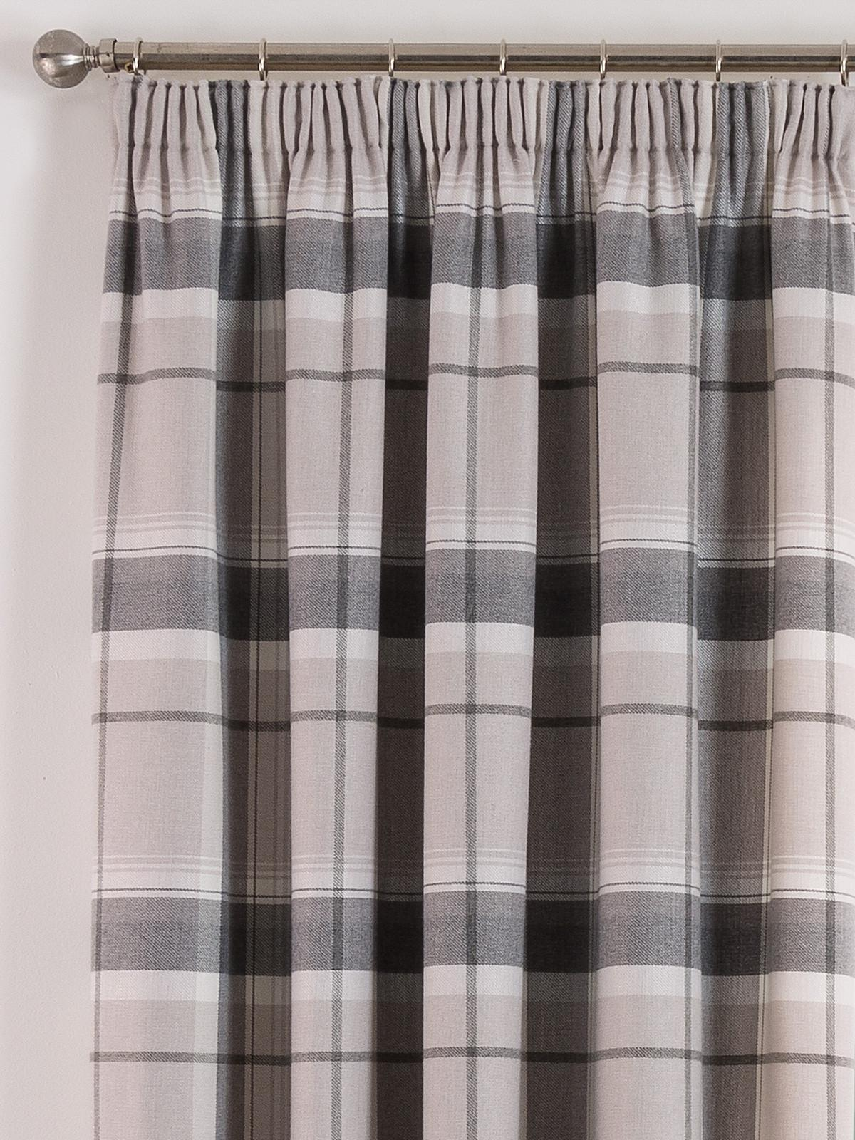 Natural Highland Brushed Check Pencil Pleat Curtains Ponden Home