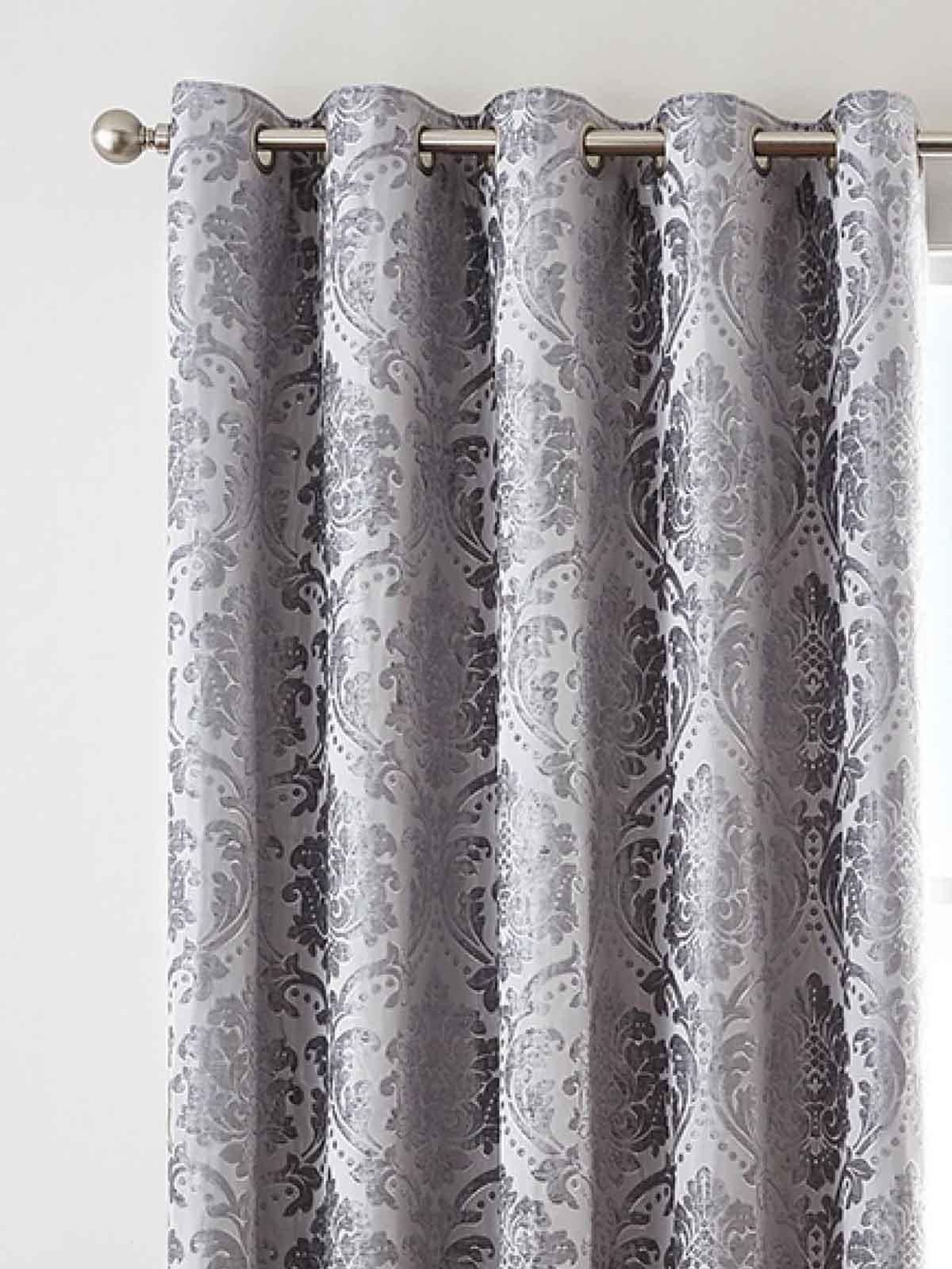 Silver Valencia Jacquard Eyelet Curtains | Ponden Home