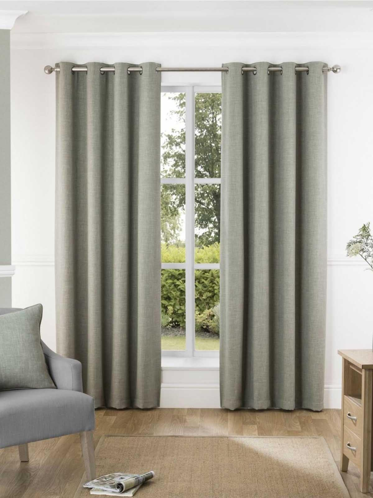 Harlow Blackout Eyelet Curtains Green Ponden Home