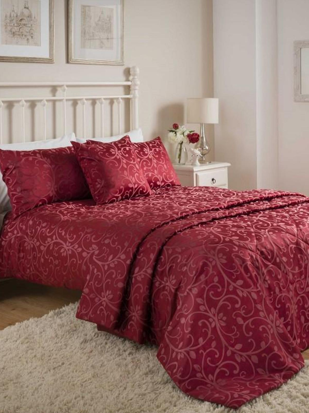 Swirl Jacquard Bedding Collection Red Ponden Home