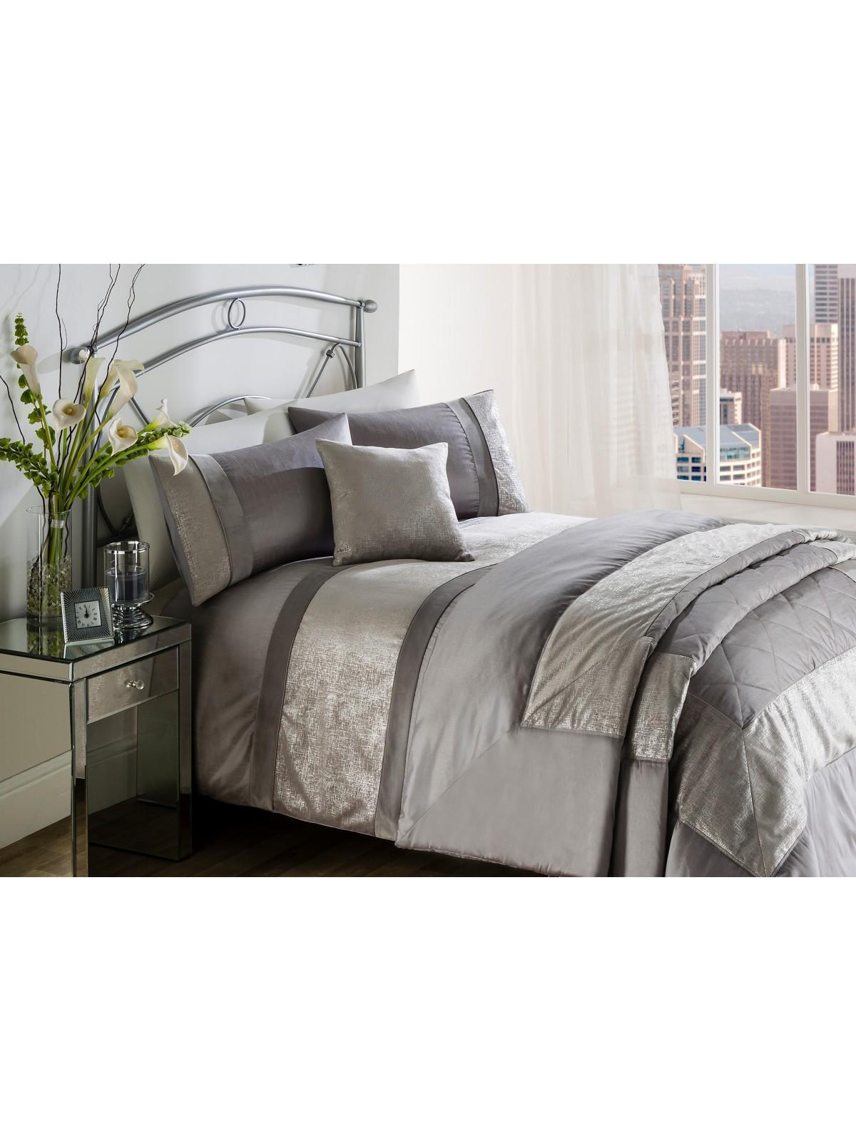kingsize grey double metallic winona super king set bedding quilt duvet cover single itm