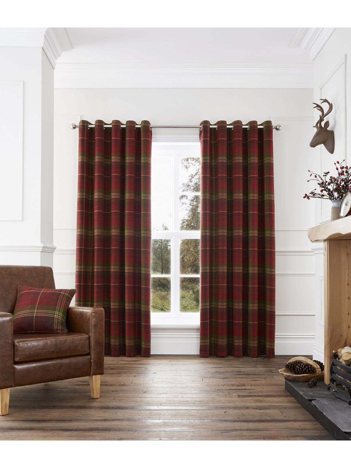 Murray Woven Check Eyelet Curtains Red