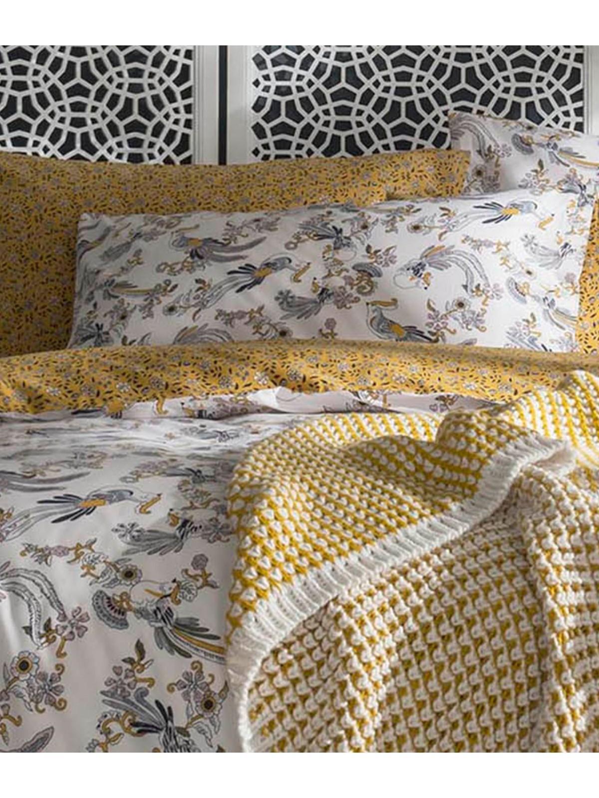 Super King Fat Face Oriental Bird Ochre Duvet Cover Set Home Furniture Diy Bed Linens Sets Bedding Sets Duvet Covers