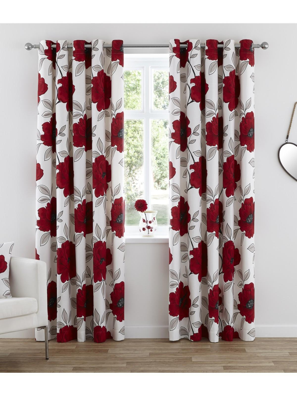 Scarlet Poppy Eyelet Curtains Red