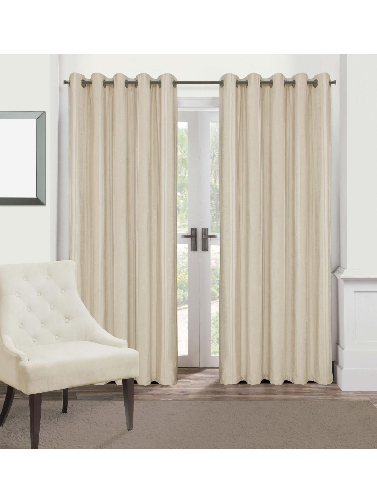 Hotel Velvet Stripe Thermal Eyelet Curtains Natural