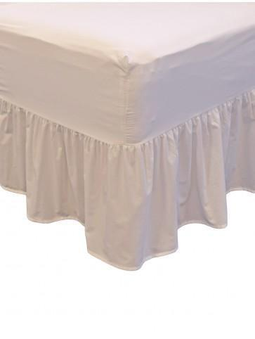 non iron fitted frilled valance sheet cream ponden home. Black Bedroom Furniture Sets. Home Design Ideas