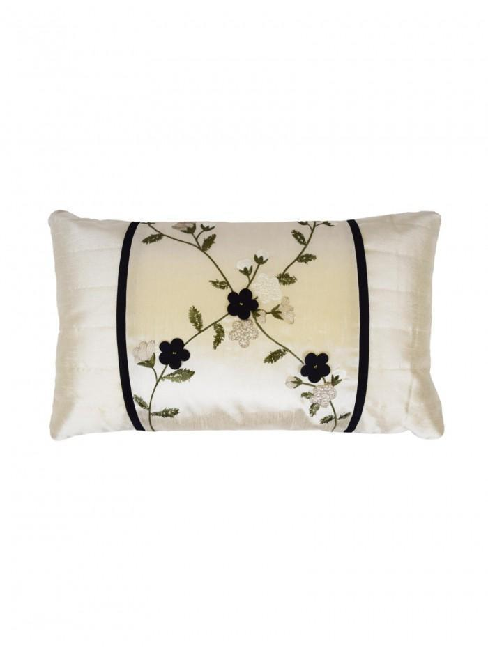 Delicate Flower Cushion Black