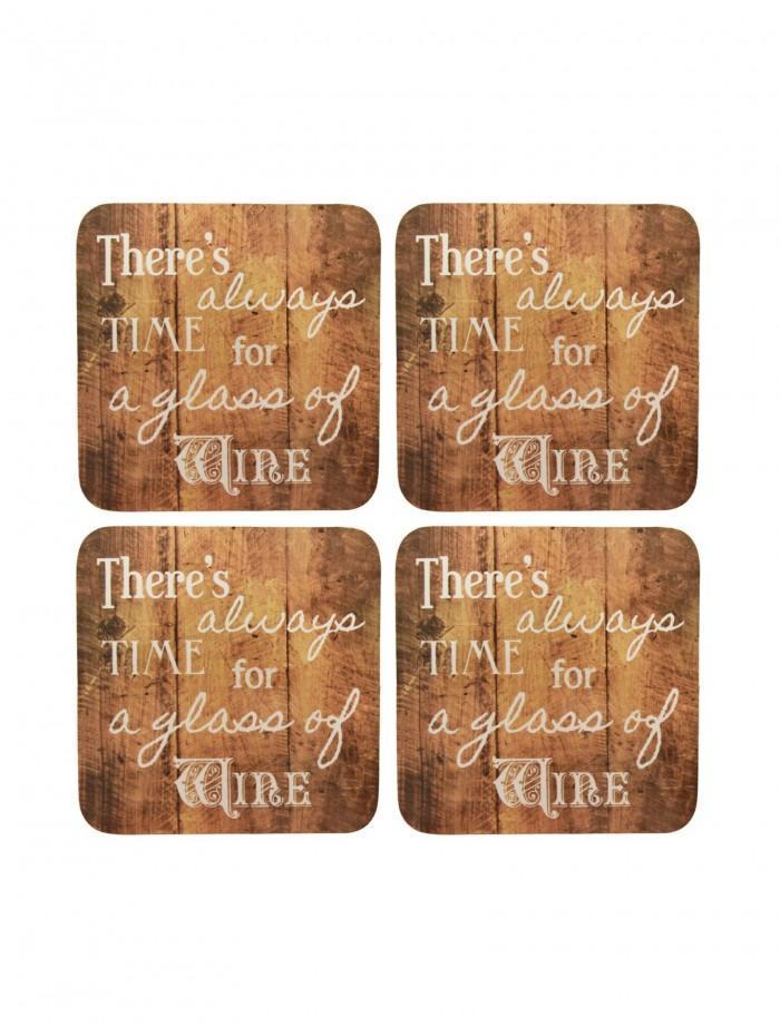 Ponden Home Pack Of 4 Wine Cork Back Coasters Brown
