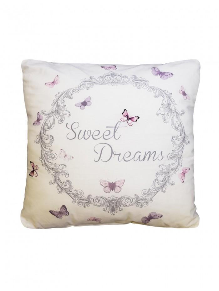 Sweet Dreams Embroidery Cushion Cream