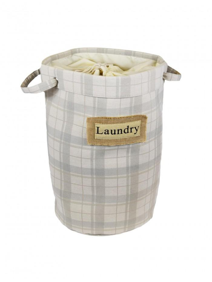 Natural Check Laundry Bag Taupe