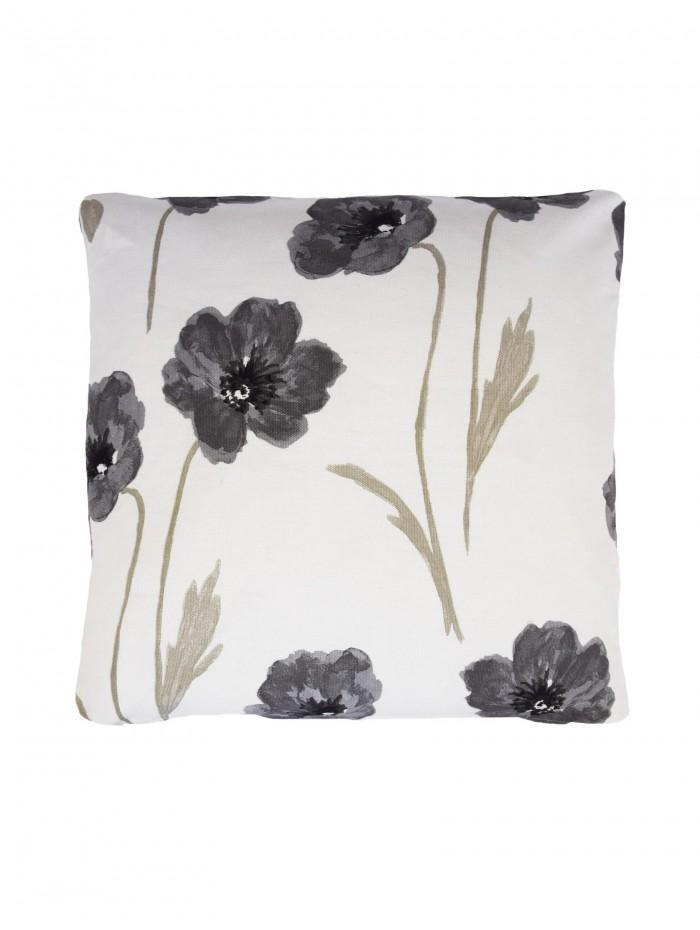 Country Poppy Cushion Grey