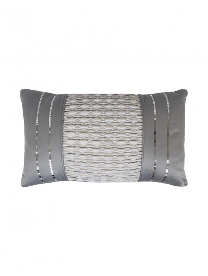 Serena Sequin Trim Cushion Silver