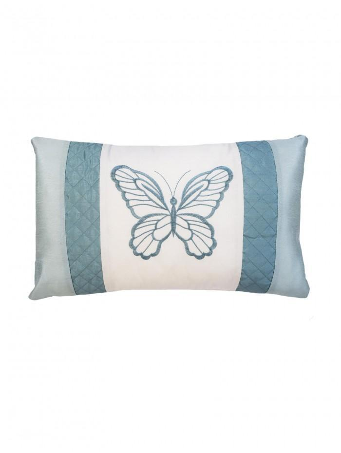 Butterfly Trail Embroidery Cushion Duck Egg