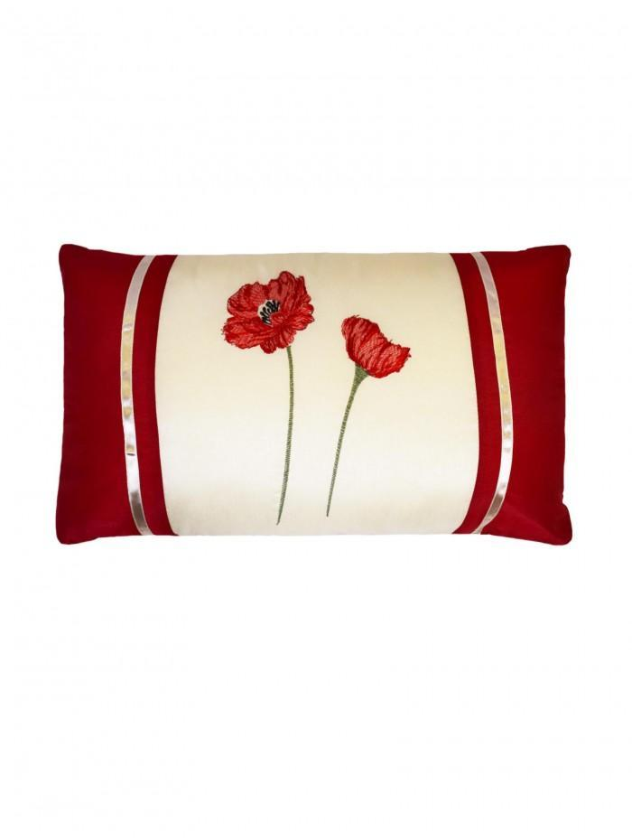 Embroidered Poppy Cushion Red