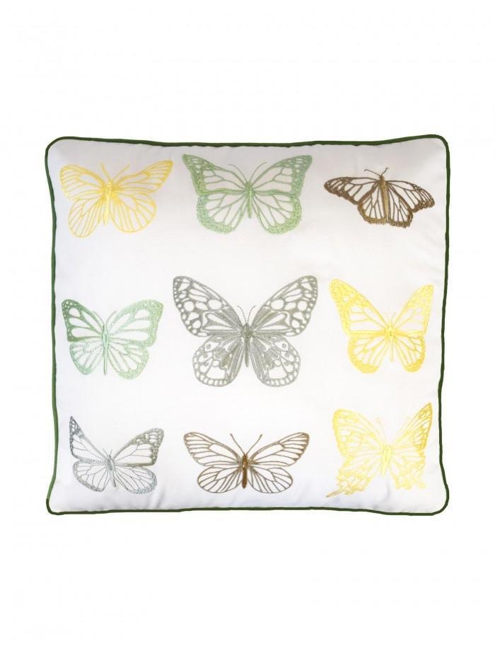 Embroidered Butterflies Cushion Green