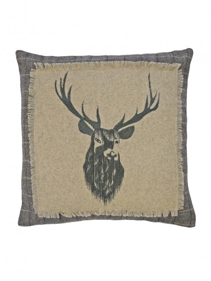 Applique Crest Stag Cushion Grey