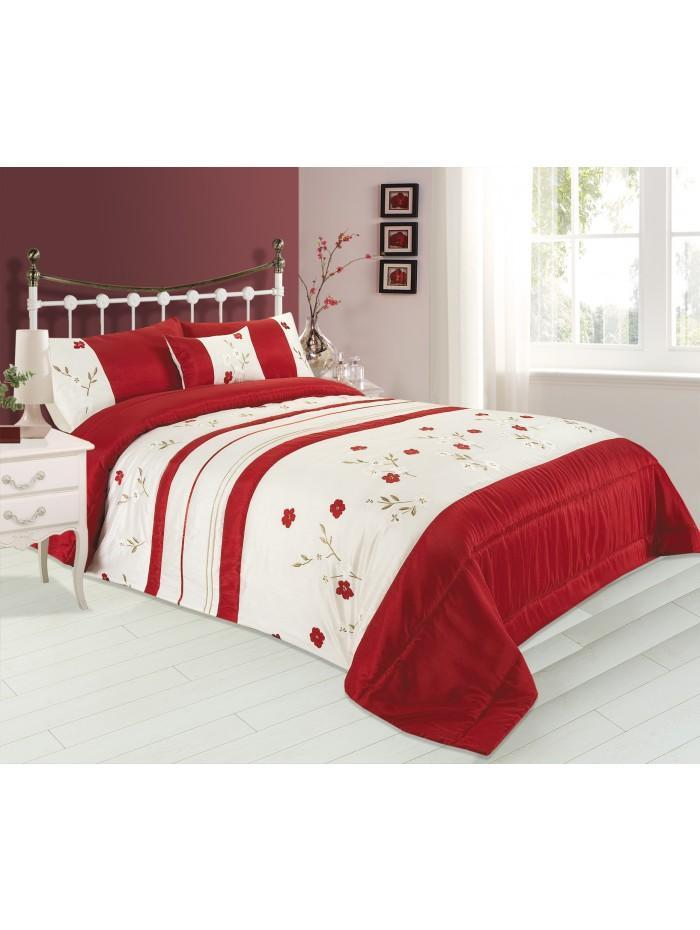 Applique Poppy Bedspread Red