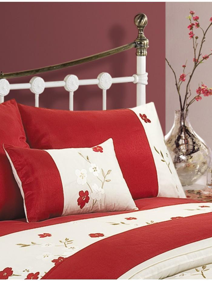 Applique Poppy Cushion Red