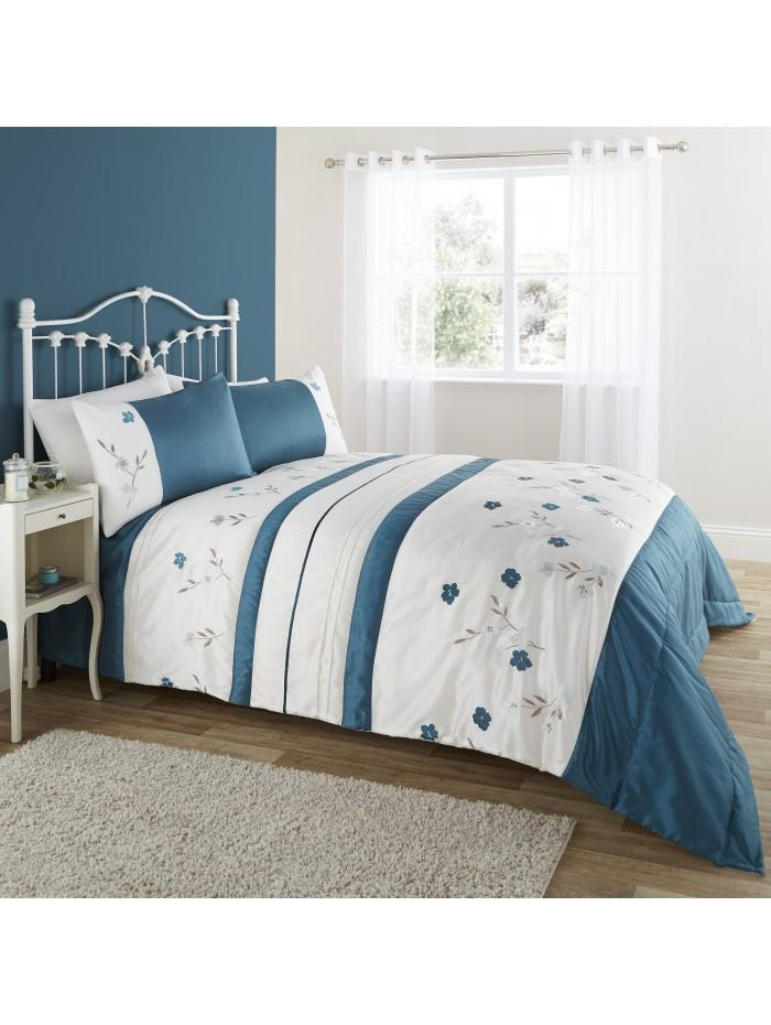 Applique Poppy Bedspread Teal