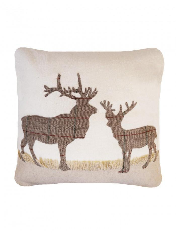 Applique Check Stag Cushion Natural