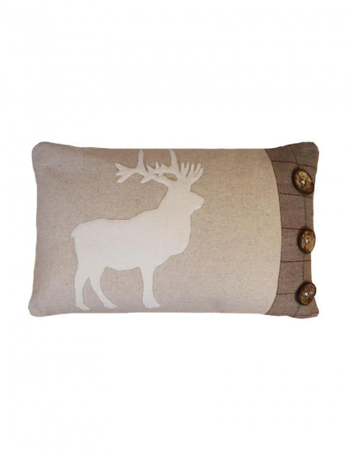 Applique Stag With Buttons Cushion Natural