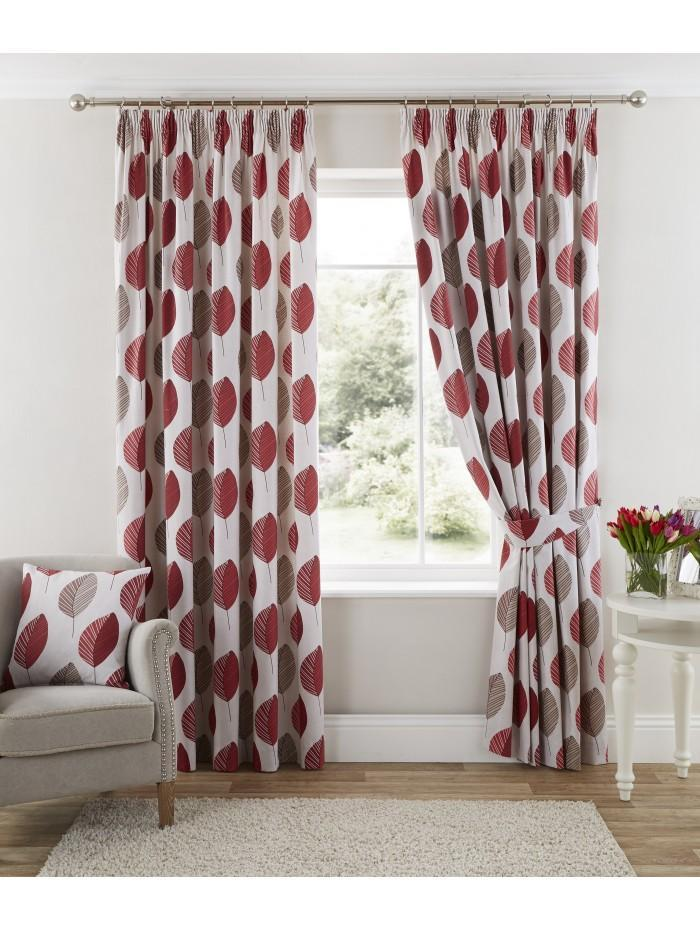 Arcadia Pencil Pleat Curtains Red