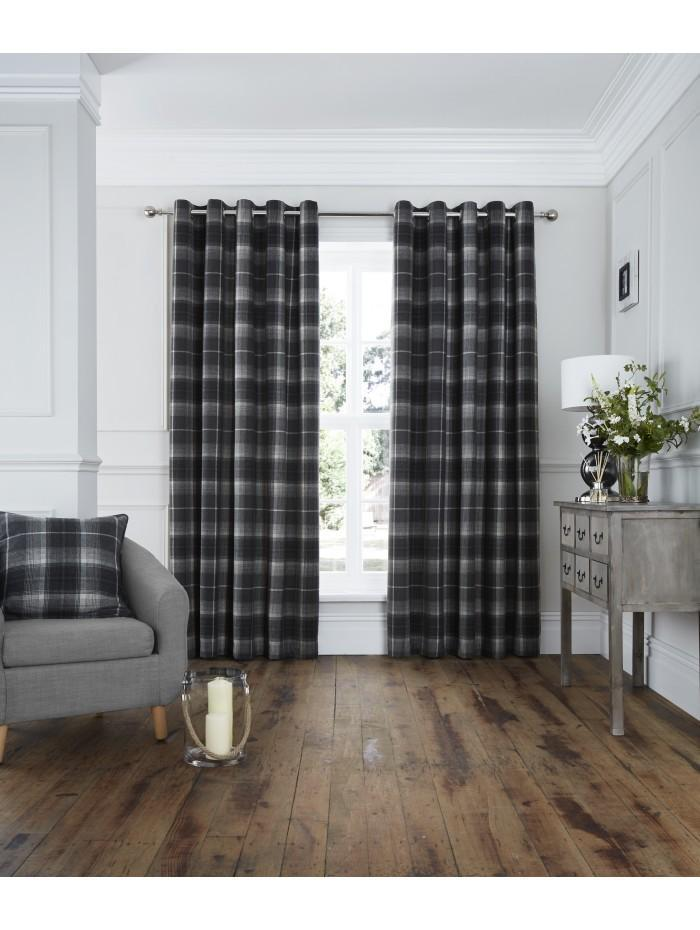 Archie Eyelet Curtains Grey