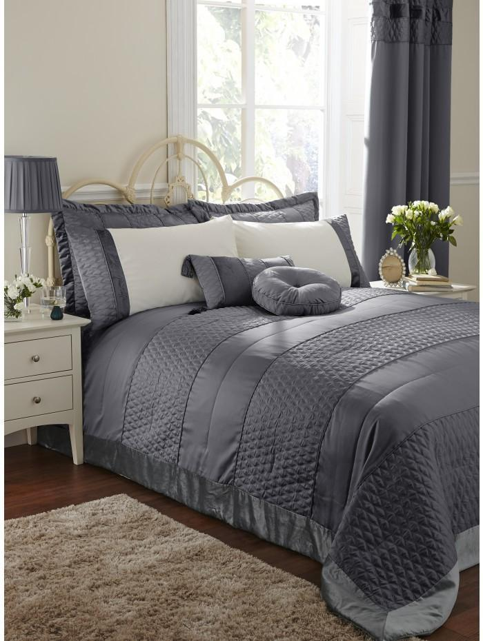 Aston Quilted Bedspread Charcoal