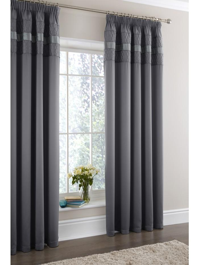 Aston Quilted Panel Fully Lined Curtains Charcoal