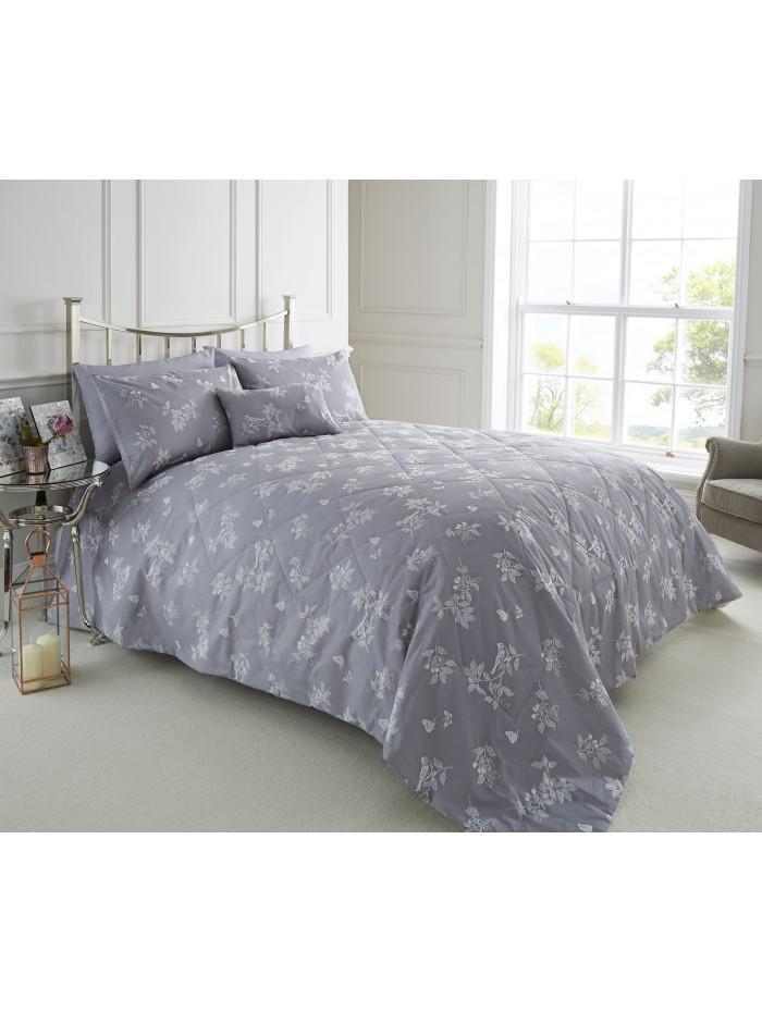 Aviary Jacquard Bedspread Grey