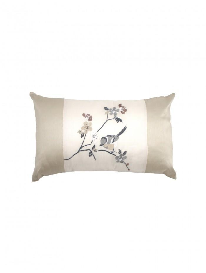 Baby Bird Panel Embroidered Cushion Natural