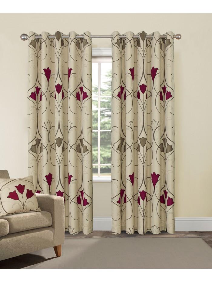 Bampton Eyelet Curtains Red