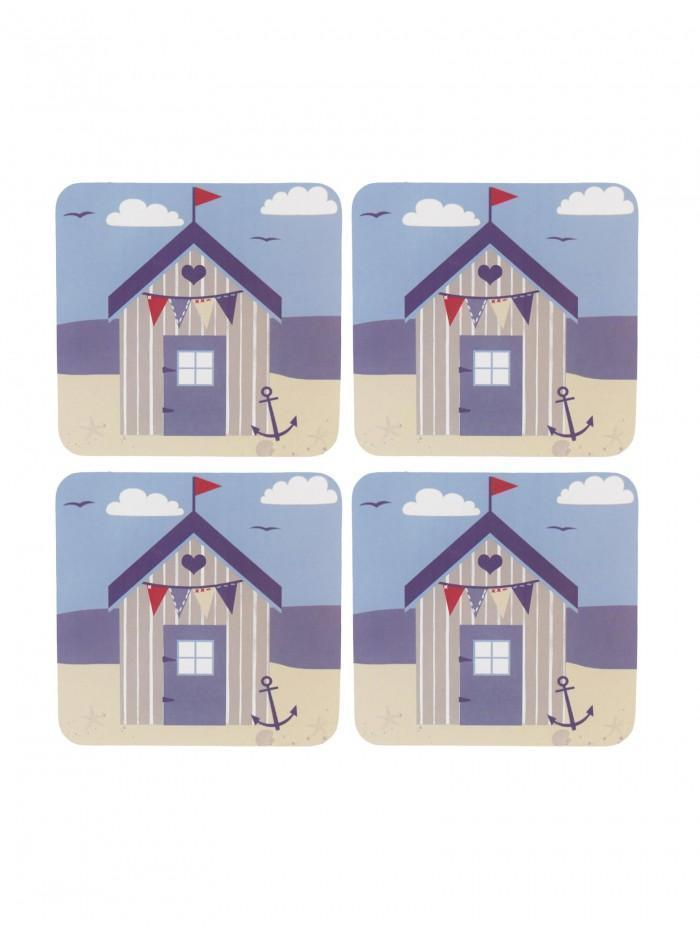 Ponden Home Pack Of 4 Beach Hut Design Cork Back Coasters Blue