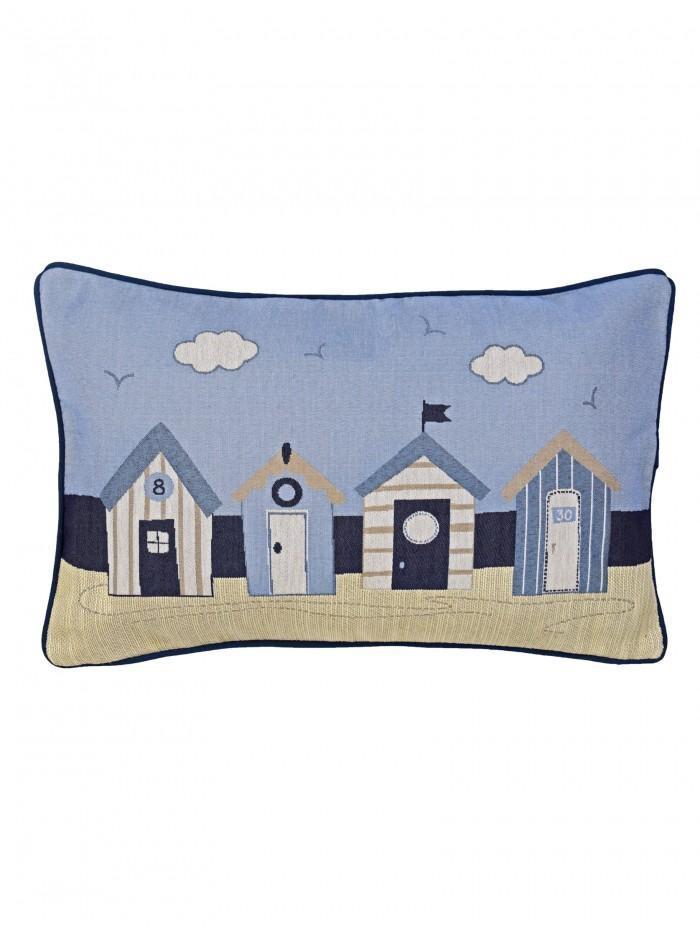 Beach Huts Cushion Blue
