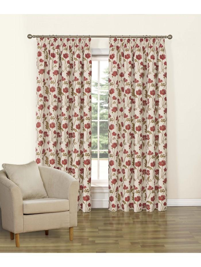 Belmont Pencil Pleat Curtains Red