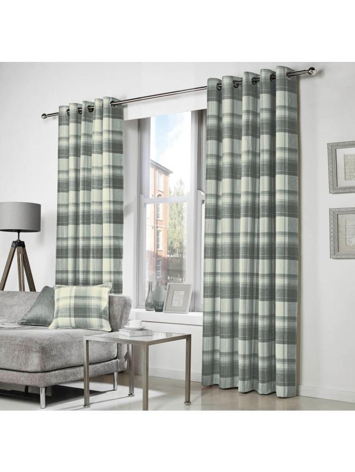 Curtina Belevedere Check Eyelet Curtains Charcoal