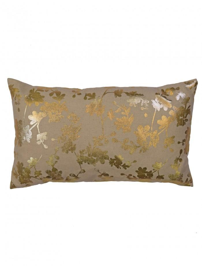 Blossom Foil Printed Cushion Natural