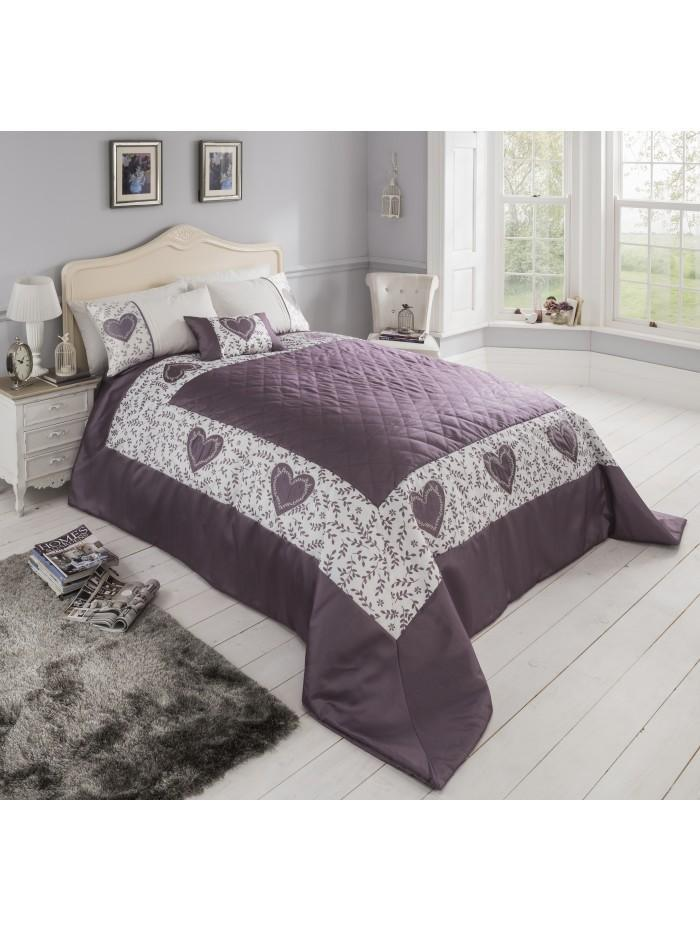 Botanical Heart Panel Bedspread Heather