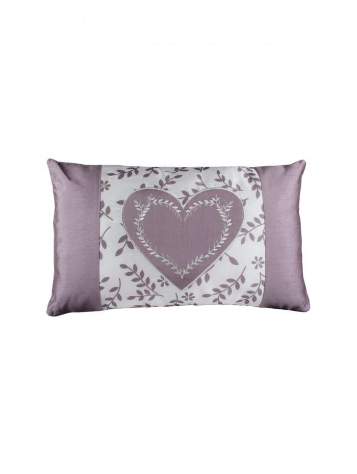 Botanical Heart Panel Embellished Cushion Heather