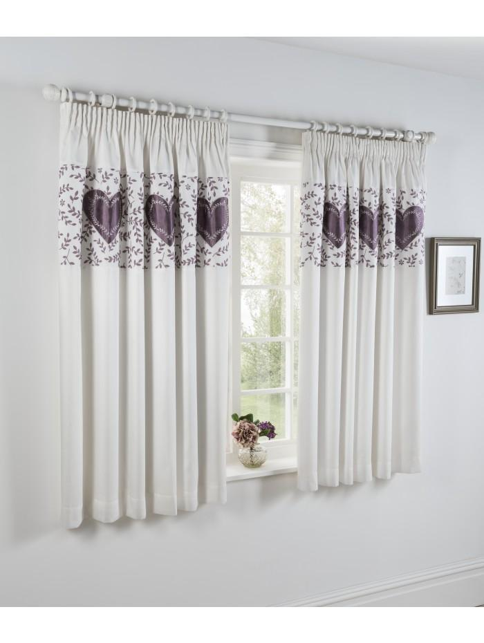 Botanical Heart Panel Embellished Curtain Heather