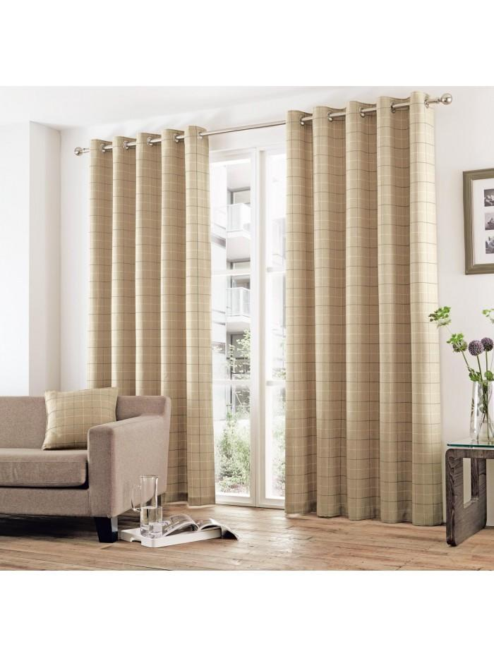 Curtina Braemar Check Eyelet Curtains Natural