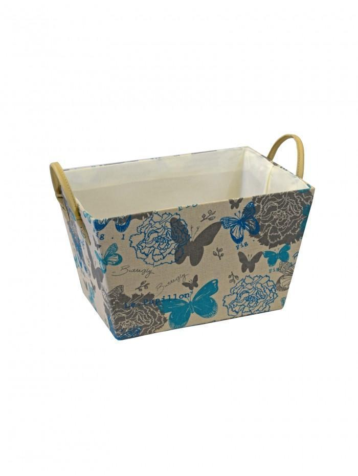 Life From Coloroll Butterflies Fabric Weave Basket, Blue