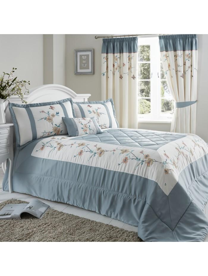 Butterfly Blossom Bedspread Duck Egg