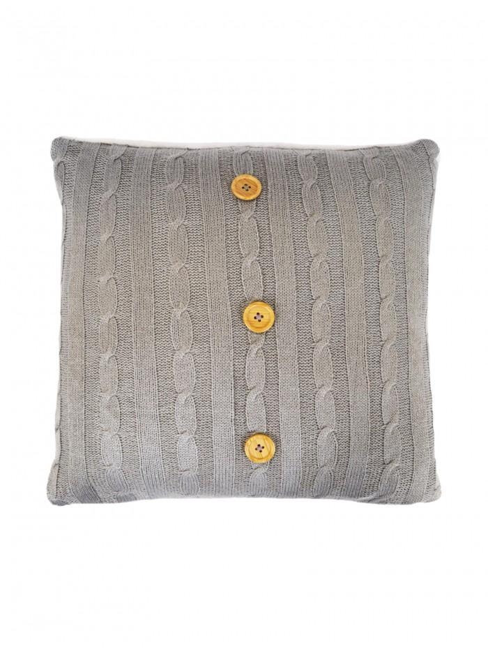 Cable Knit Cushion With Sherpa Grey