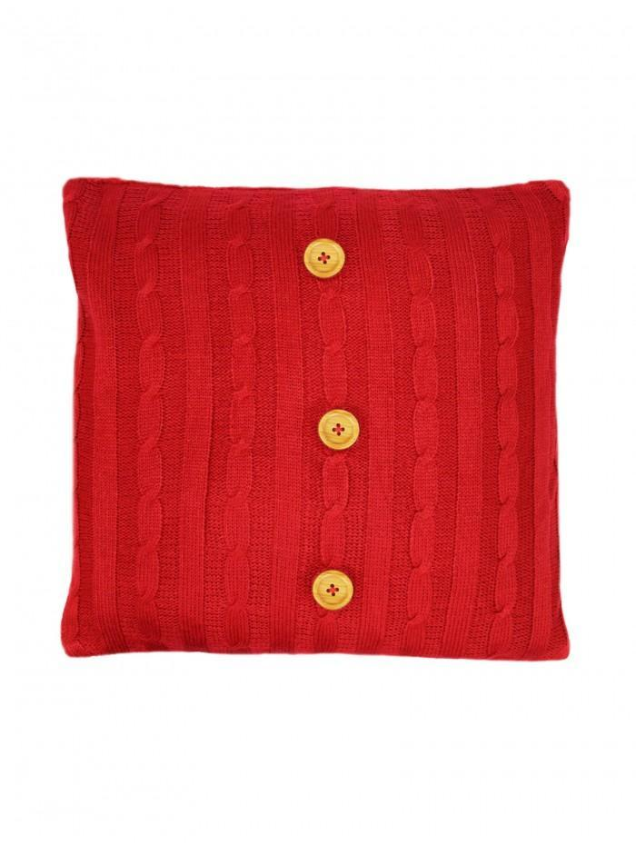 Cable Knit Cushion With Sherpa Red
