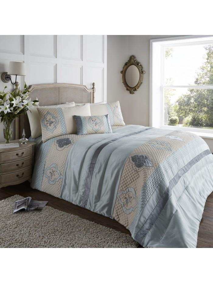 Cameo Quilted Cuff Bedspread Duck Egg