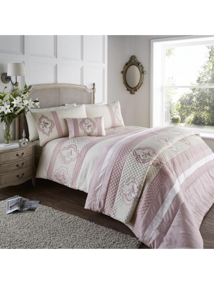 Cameo Quilted Cuff Duvet Set Pink