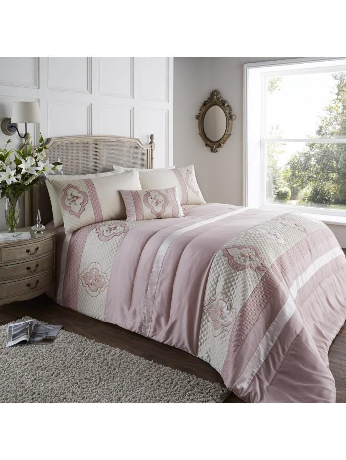 Cameo Quilted Cuff Bedspread Pink
